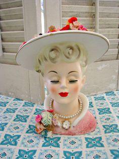 Vintage OH SO Sweet Head Vase Pin Cushion Doll House People, Head Hunter, Flower Holder, Millinery Hats, Half Dolls, Old Jewelry, Flower Vases, Flowers, Vintage Cards