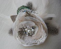Headpiece fascinator  autumn fall shabby rustic burlap wedding Harvest Flower ivory beige sand silver lace pearls Peacock bride bridesmaid