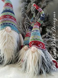 Original Gnomes by DaVinciDoll Designs© DaVinciDollDesigns Christmas Collection Swedish Norwegian TOMTE NISSE GNOME or SANTA can be Christmas Decor or all year round Decoration! Features bendable hat and arms to position any way you desire! Also has added weight at the bottom for
