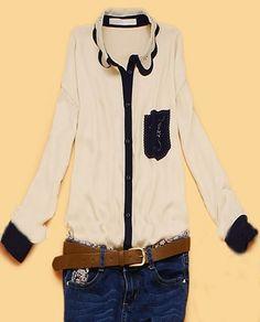Beige Scallop Collar Hollow Pocket Long Sleeve Shirt
