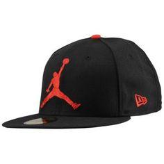 #Jordan x #NewEra 59Fifty Jumbo Jumpman Fitted Cap - Men's - Basketball - Clothing - Black/Varsity Red $34