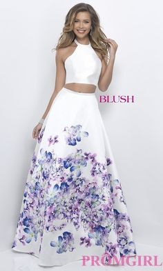Two-Piece Halter Top Blush Prom Dress