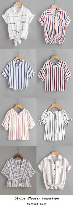 stripe blouses collection 2017 - romwe.com