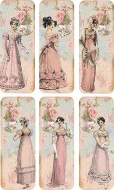 Vintage Labels Vintage inspired bookmarks Jane Austen with silk ribbons set of 6 Tea Time Éphémères Vintage, Images Vintage, Vintage Labels, Vintage Ephemera, Vintage Pictures, Vintage Paper, Vintage Postcards, Vintage Prints, Printable Vintage