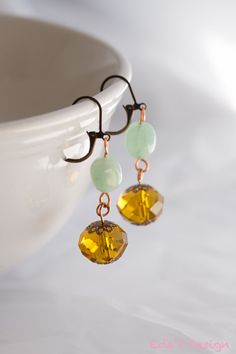 Beautiful Jade and Amber Earrings by EdasDesign on Etsy