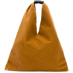 Mm6 Maison Margiela large triangular tote (242 CAD) ❤ liked on Polyvore featuring bags, handbags, tote bags, brown, triangle purse, handbags tote bags, handbag tote, brown purse and brown handbags
