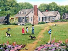 Excited to share latest addition to my #etsy shop: Folk Art Paintings, Folk Art Prints, GRANDPA'S, Children Jumping Rope, Country Memories, Farm House, Flowers, Dog, Chickens, Arie https://etsy.me/2qBbEW6 #art #print #housewarming #mothersday #folkartprints #grandpas