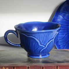 Vintage Metlox Potteries of California Lotus Coffee Tea Cup and Saucer beautiful rich cobalt blue.  by SuzettaS on Etsy
