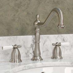 Victorian Gooseneck Bathroom Faucet with Small Porcelain Lever Handles - Bathroom Sink Faucets - Bathroom