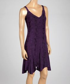 Loving this Purple Embroidered V-Neck Dress on #zulily! #zulilyfinds