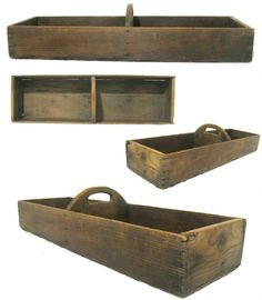 Antique C 1850 Wooden Herb Flower Gathering Tray Treenware Primitive Tote....~♥~