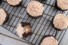Ferrero Rocher chocolate cupcakes -  candy baked inside and Nutella buttercream frosting