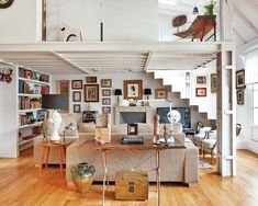 Radiant attic apartment transformed in Spain - inspiration for our shack in Florida, industrial open plan mainland option when the boat feels cramped