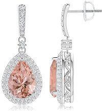 Angara Pear Morganite Halo Dangle Earrings with Diamond Cluster G6DCFgQy