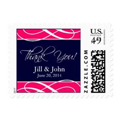 Pink Navy Blue Wedding Thank You Postage Stamps