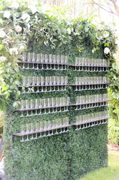 Our Boxwood Champagne Wall is the perfect addition to any wedding where you want a wow factor for your guests! The champagne wall can hold up to 100 flutes. Garden Wedding, Our Wedding, Dream Wedding, Flower Wall Wedding, Elegant Wedding, Parisian Wedding, Wedding Reception Backdrop, Wedding Wall Decorations, Champagne Wedding Decorations