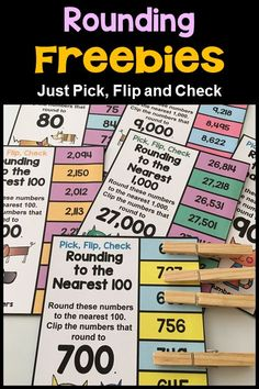 to the Nearest 100 and 1000 Free Clip Cards Rounding Flip Card FreebieRounding Flip Card Freebie Math Strategies, Math Resources, Rounding Activities, Multiplication Strategies, Math Tips, Comprehension Strategies, Math Stations, Math Centers, Fractions