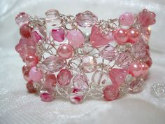 wire Crocheted jewelry | ... Bracelet, handmade bead crocheted wire jewelry, pink beadwork bracelet
