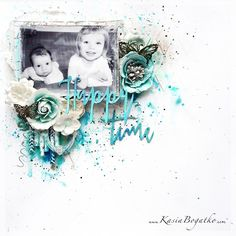 #papercrafting #scrapbook #layout - Happy Time - by Kasia Bogatko