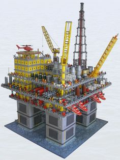 Oil rig.  Now we know how all those LEGO cars, buses, and airplanes get their fuel.  Wonder if anyone has built the processing plant yet? Lego City, Legos, Pokemon Lego, Technique Lego, Construction Lego, Lego Boards, Lego Ship, Amazing Lego Creations, Lego Modular