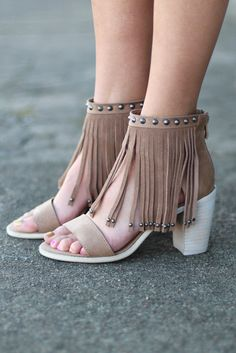 Very Volatile: Lux Fringe High Heel Sandal {Taupe} – The Fair Lady Boutique