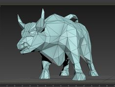 The Wall Street Bull. The original model. The model is ready for 3D printing. Low poly. There is STL file/