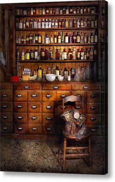 Cabinetry/drawers + apothecary bottles.