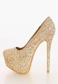 gold sparkly platform heels - Google Search | Frostbite shoes ...