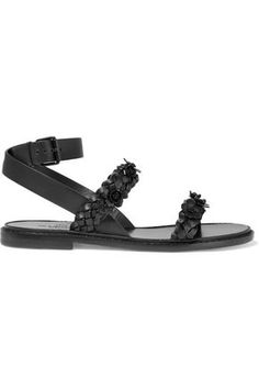 VALENTINO WOMAN EMBELLISHED BRAIDED LEATHER SANDALS BLACK. #valentino #shoes #