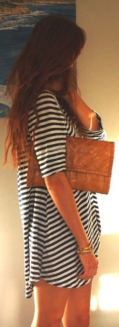 Black and White striped shirt dress with cute tan leather clutch