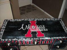 Arkansas Razorback desk, with the Razorback Fight Song printed around the edges of desk !!