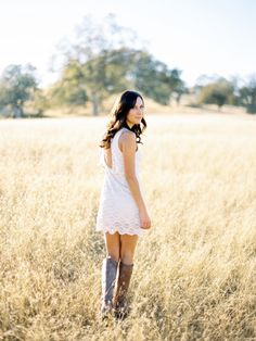 short lace dress with brown boots
