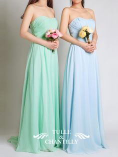 Fresh Mint Green Strapless Sweetheart Long Chiffon Bridesmaid Dress 4
