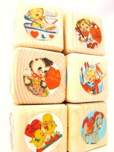 Retro Valentines Decor Wood blocks Gift for Children by MiaBooo, $20.00