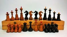 Chess set, supposedly 20 years, after the restoration. The original color of the figures and the upper red parts is restored. Shapes without defects, complete set, the chessboard is a bit worn out. Very elegant set, the figures are heavier, very stable. Board 34 * 34 * 5 cm. square 4 * 4 cm. King 9 cm. Queen 7.5 cm. Bishop 8 cm. Knight 6 cm. Rook 5.3 cm. Pawn 4 cm. Chess Sets, Chess Pieces, Rook, Woodturning, World Cultures, 20 Years, Cool Kids, Restoration, Games