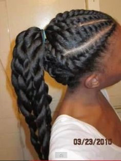 Wow!! Beautiful!!!-- I love these twists. It seems like this is stretched straight kinky hair that is flat twisted and chunky twisted in the back.