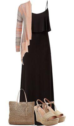 Casual black maxi dress with cardigan