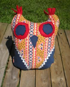 red blue and gold tribal pattern owl accent by elainenthesun