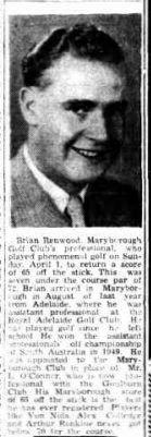 1951 Brian Renwood, Maryborough Golf Club Professional
