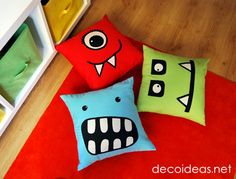 monster pillows***except we will call them Monster Reading Pillows.  At the beginning of summer I'll have the Gr-Kids pick from all my material and design a pillow.  I'll sew it up and this is what we will use each day when we read.  Our MONSTER READING PILLOWS.  S Dalby