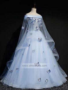 Light Blue Cap Sleeve Ball Gowns for Teens – Viniodress Vintage Ball Gowns, Blue Ball Gowns, Ball Gowns Prom, Ball Gown Dresses, Homecoming Dresses, Floral Prom Dresses, Prom Dresses With Sleeves, Formal Dresses, Cinderella Quinceanera Dress