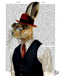 Steampunk Art Print, Steampunk Horatio Hare In Waistcoat, Book Page Wall Art Wall Decor Poster, Steampunk Rabbit in Bowler Hat