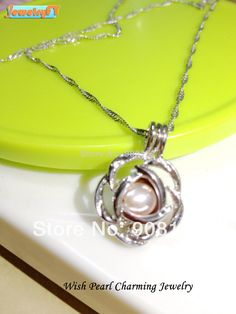 18kgp Rose Pearl Bead Locket Cage Pendant Mounting for Jewelry, Bracelet /Necklace, Free Shipping $6.80