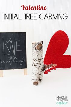 A great gift for the guy or girl in your life.or if you just want a cute decoration! Make a Valentine initial tree carving using a wood burning tool. Valentine Tree, Valentines Day Holiday, Little Valentine, Valentines Day Decorations, Valentine Day Crafts, Wood Burning Pen, Teacher Cards, Free Printable Gift Tags, Tree Carving