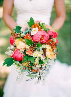 Peony Berry Bouquet - bright & bold wedding bouquet by Holly Chapple Flowers