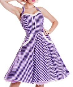 Charlotte Purple Gingham 1950s Halter Dress - Modern Grease Clothing and Accessories Co.