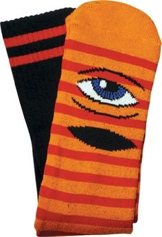 Toy Machine Sect Eye Stripe Crew Socks Orange Red Black 1 Pair Skate Socks *** Click image for more details. This is an Amazon Affiliate links.