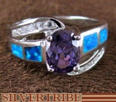 Southwest Jewelry | Amethyst Opal Ring | Sterling Silver Jewelry | Ring Size 8