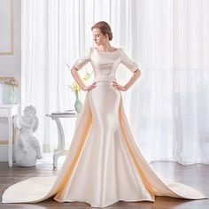 Cheap robe de mariage, Buy Quality gown wedding directly from China wedding gowns Suppliers: Lvory White Gown Wedding Dress 2017 Long Tail Backless Soft Satin Wedding Gowns Bride Dresses Vestido De Noiva Robe De Mariage Unusual Wedding Dresses, 2016 Wedding Dresses, Classic Wedding Dress, Designer Wedding Dresses, Bridal Dresses, Wedding Gowns, Bridesmaid Dresses, Wedding White, Special Dresses