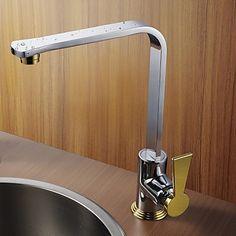 Modernes Design Chrom-Finish Gold Griff abgewinkelt Steigerung Küchenarmatur